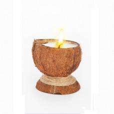 Свеча-эко ручной работы  COCONUT в скорлупе с ванилью TM Aromatte